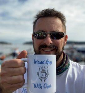 island guy with chai and chai mug