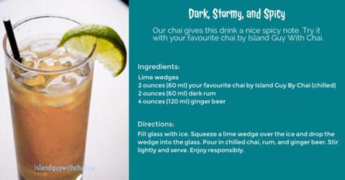 dark, stormy,spicy cocktail